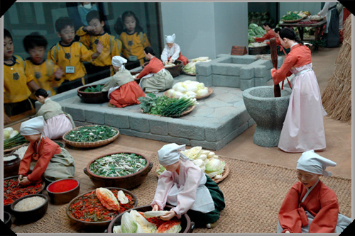 Traditional kimchi preparation, National Folk Museum, Seoul