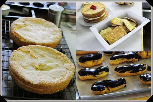Sponge cake, crispbreads and eclairs