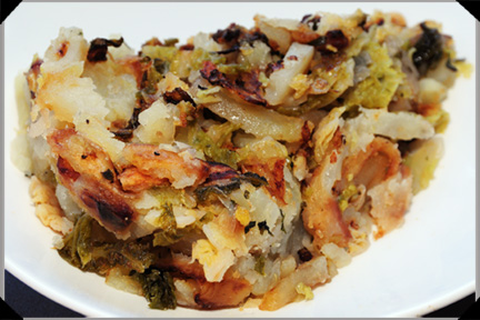 Colcannon Cake with Potatoes, Cabbage & Onion