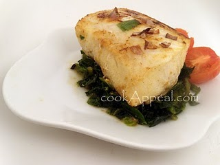 Miso Chilean Sea Bass over Collard Greens