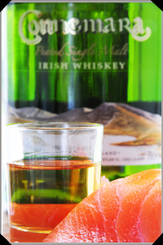 Connemara whiskey and smoked salmon
