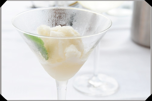 White port and rosemary sorbet
