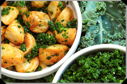 Potatoes with minced kale