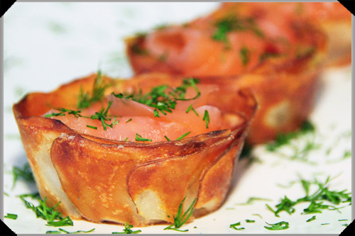 Potato cups salmon