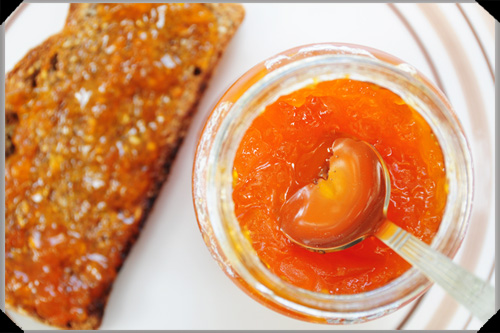 Apricot jam and toast