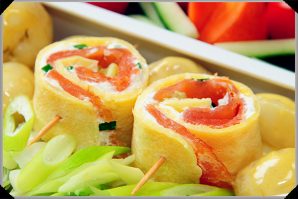 Egg and smoked salmon rolls