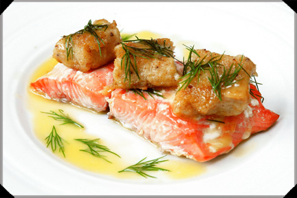 Salmon with gnocchi and sorrel sauce