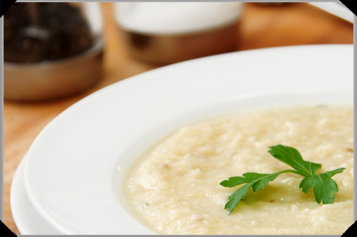 Potato, celeriac and cauliflower soup