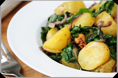 Baby potatoes with spinach