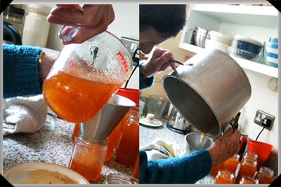 Filling the marmalade jars