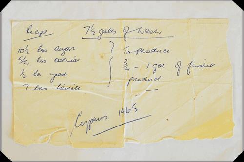 Poitin recipe, Cyprus 1965