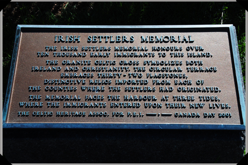 Irish settlers' memorial plaque, Charlottetown