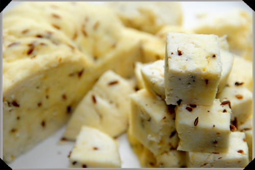 Paneer with toasted cumin seeds