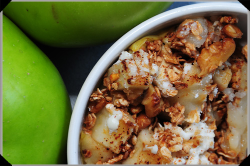 Bramley apples, baked with honey and goat's cheese