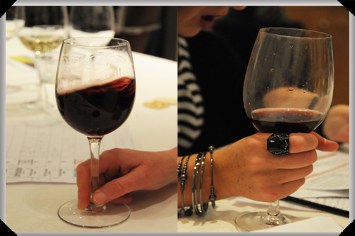 It's like this - you swirl the wine, then keep a firm grip of your glass lest anyone try to make off with it