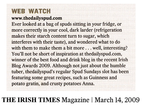 Featured in Marie-Claire Digby's Irish Times Food File