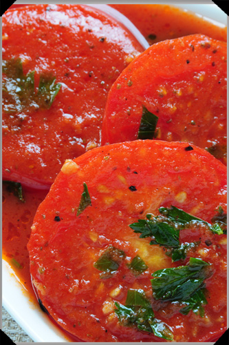 Sliced Tomatoes in a Bloody Mary Sauce