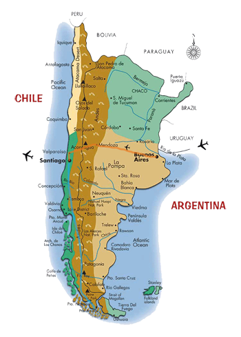 Map of Argentina and Chile