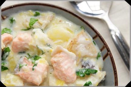 Potato, Salmon And Cream Cheese Chowder