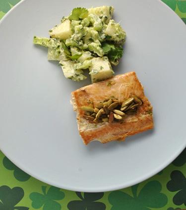 Simple Potato Salad and Lime-Pepita Salmon