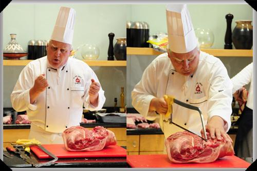 Pat Conway demonstrates pork butchery