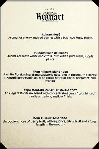 Wine Menu at for Ruinart dinner at Restaurant Patrick Guilbaud
