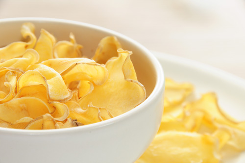 Oven dried potato crisps