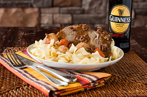 Guinness Pot Roast with Bacon and Parsnips