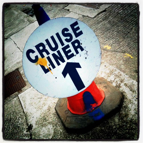 Cruise liner sign