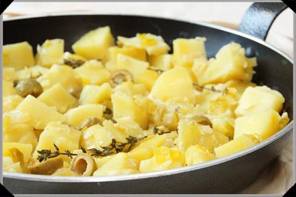 Potatoes with leeks and white wine