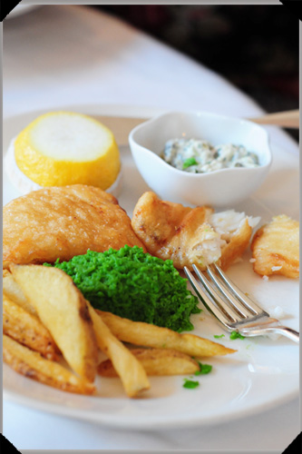 Fish and chips at the Cliff Town House