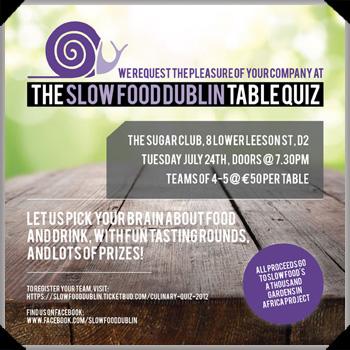 Slow Food Dublin Culinary Quiz