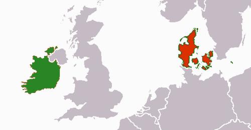 Denmark Ireland map