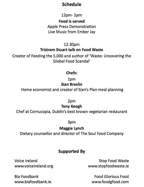 Feeding the 5000 Dublin schedule