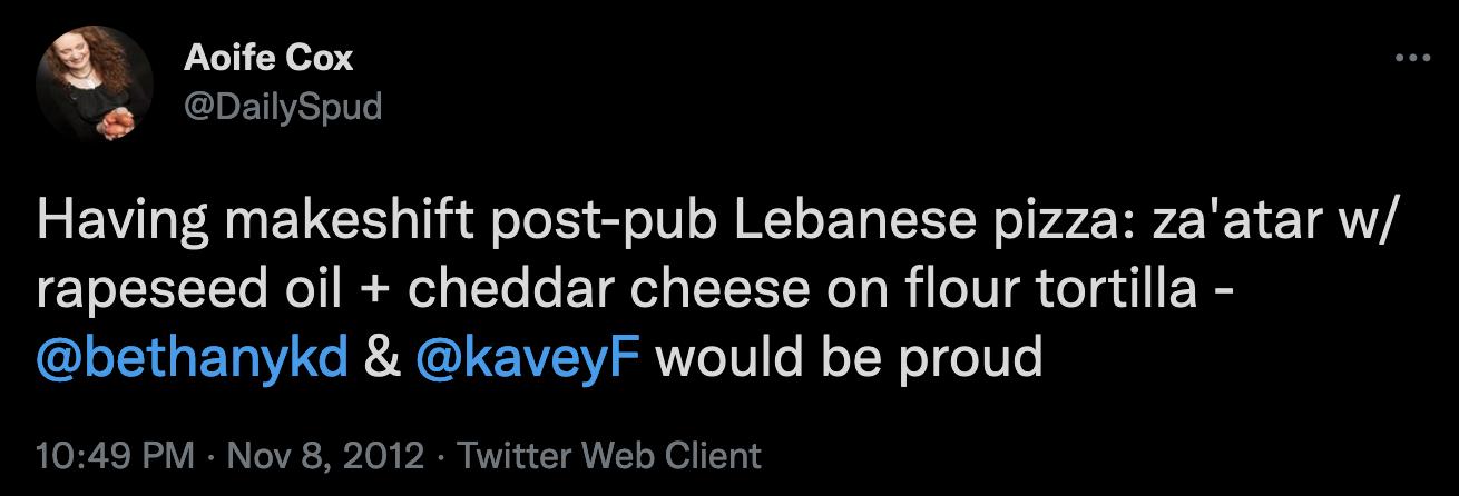 Lebanese pizza tweet