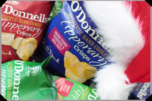 O'Donnells crisps and santa hat