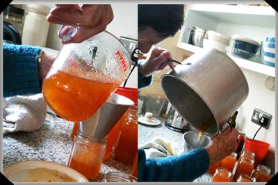 Filling the marmalade jars