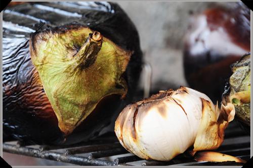 Aubergine and Garlic, grilled