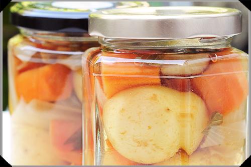 Jars of pickled potatoes