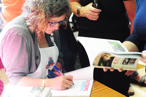 Sally McKenna signing Extreme Greens